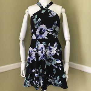 Speechless Halter Floral Open Side Mini Dress